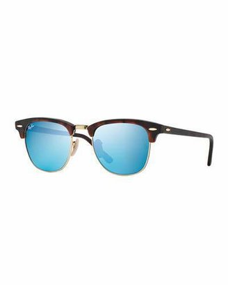 Ray-Ban Clubmaster Sunglasses with Blue Mirror Lens, Havana $175 thestylecure.com