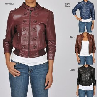 Knoles & Carter Women's Plus Size Marching Bomber Leather Jacket $64.99 thestylecure.com