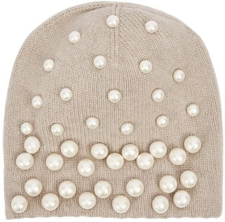 THAT'SAHAT! Taupe Embellished Wool-blend Beanie