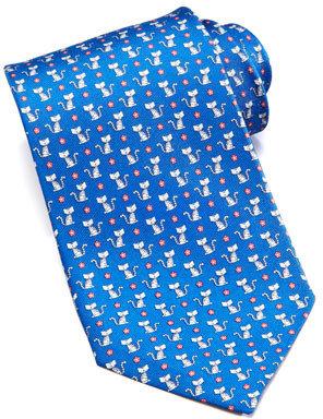 Salvatore Ferragamo Cat-Print Silk Tie, Blue