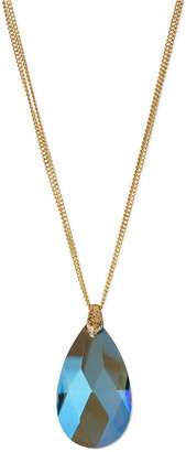 Kenneth Cole New York Necklace, Gold-Tone Blue Teardrop Pendant