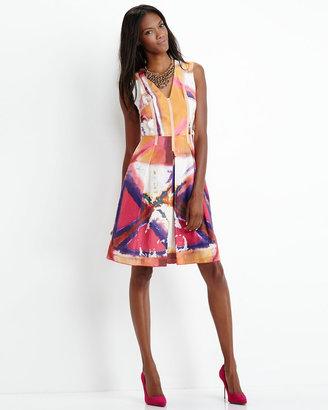 Rachel Roy Printed Orchid Pleated Dress
