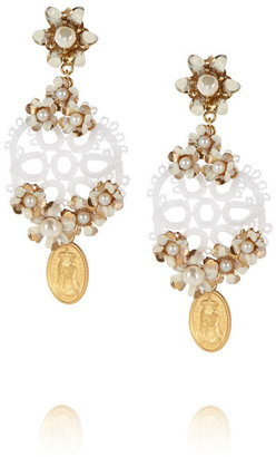 Dolce & Gabbana Cerimonia gold-plated, faux pearl and crocheted clip earrings