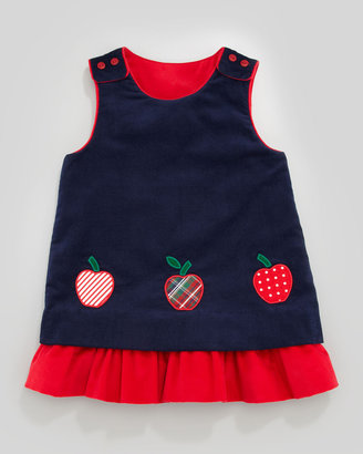 Florence Eiseman Snowflake/Apples Reversible Corduroy Dress, 2T-4T