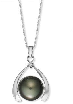 Macy's Sterling Silver Necklace, Cultured Tahitian Pearl (11mm) and Diamond Accent Pendant