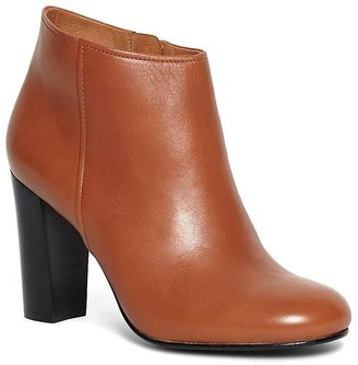 Short Leather Stacked Heel Booties $328 thestylecure.com