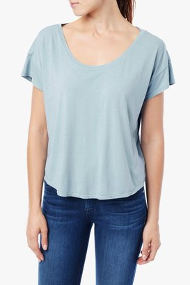 7 For All Mankind Short Sleeve Modal Dolman Scoop In Pale Turquoise