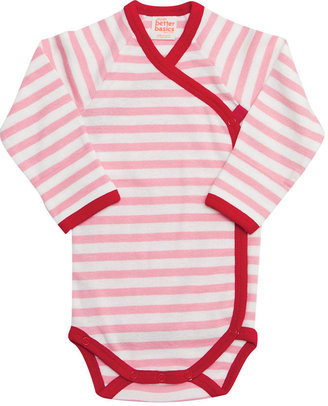 giggle Better Basics Long Sleeve Striped Side Snap Baby Body (Organic Cotton)