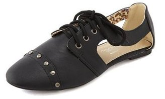 Charlotte Russe Studded Lace-Up Cutout Oxford