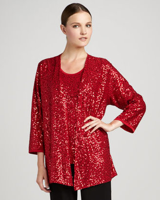 Caroline Rose Womens Sequin Stretch Jacket