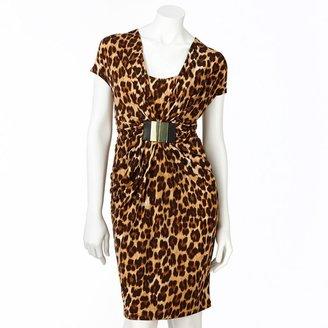 JLO by Jennifer Lopez leopard embellished mock-layer dress