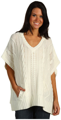 Michael Stars Cable Fisherman Knit 3GG Hooded Poncho