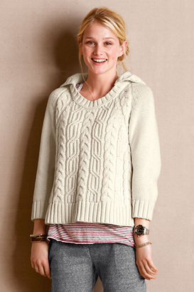 Lands' End Women's Cable Knit Hooded Sweater