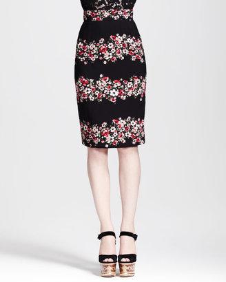 Dolce & Gabbana Floral-Striped Pencil Skirt