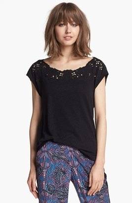 Hinge Floral Cutout Tee Black Small