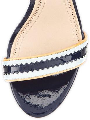 Pour La Victoire Veronica Pinked-Strap Sandal, Natural/Navy