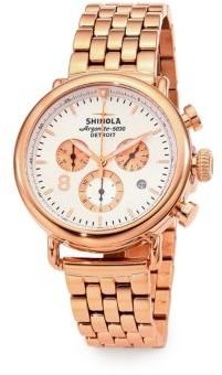 Rosegold Shinola Runwell Rose Goldtone PVD Stainless Steel Contrast Chronograph Bracelet Watch