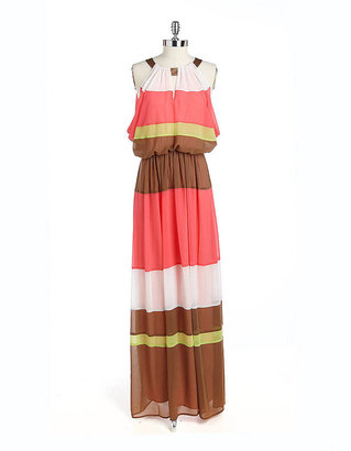 Vince Camuto Tiered Colorblock Gown