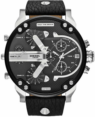 Diesel Men's Chronograph Mr. Daddy 2.0 Black Leather Strap Watch 66x57mm DZ7313