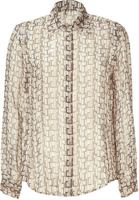 L'Agence LAgence Nut and Black Geometric Printed Silk Top