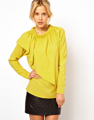 Asos Blouse With Gathered Neck And Asymmetric Layer