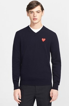 Men's Comme Des Garcons Play Wool Pullover $269 thestylecure.com