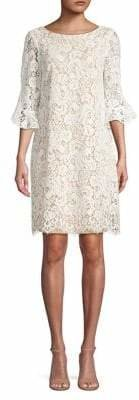 Eliza J Lace Bell-Sleeve Cotton Blend Shift Dress
