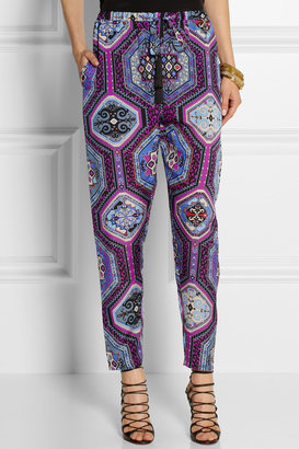Emilio Pucci Printed silk-charmeuse tapered pants