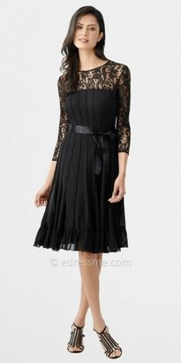 Adrianna Papell Three Quarter Sleeved Illusion Lace Pleated A-Line Dresses