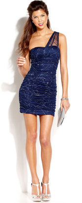 Amy Byer Juniors' Glittered One-Shoulder Bodycon Dress