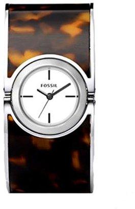 Fossil Women's ES2486 Tortoise Enamel Bangle White Analog Dial Watch