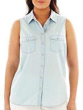 JCPenney a.n.a® Sleeveless Denim Shirt - Plus