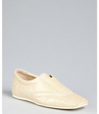 Hogan pale gold snakeskin and leather loafers