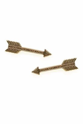 House Of Harlow Long Accented Arrow Earrings in Gold