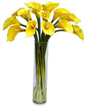 CALLA Nearly Natural Lilly Silk Flower Arrangement w/Cylinder - Yellow
