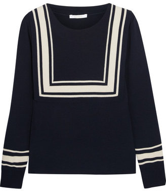 Chloé Bib-detailed fine-knit wool sweater