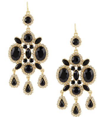 Lydell NYC Jet Large Chandelier Earrings