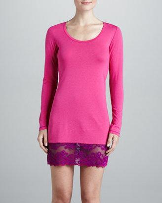 Josie Essential Lace-Trim Sleep Shirt, Pink Lightning