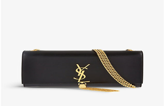 Saint Laurent Black Monogram Medium Leather Shoulder Bag