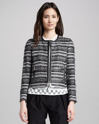 Milly Harper Leather-Trim Tweed Zip Jacket