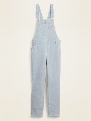 Old Navy Railroad-Stripe Jean Straight-Leg Overalls for Women