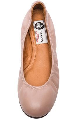 Lanvin Lambskin Leather Ballerina Flats in Nude