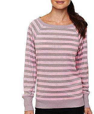 JCPenney Xersion Striped Open Mesh Sweatshirt