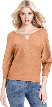 GUESS Top, Three-Quarter Scoop-Neck Metallic Sweatshirt