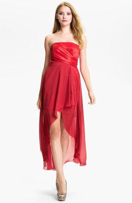 Jessica McClintock Strapless Taffeta & Chiffon High/Low Dress