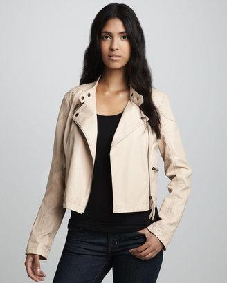 Free People Sunburst Faux-Leather Motorcycle Jacket, Ivory (Stylist Pick!)