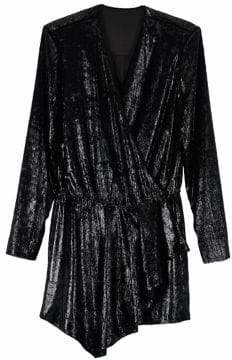 Mo&Co. Long Sleeve Metallic Dress