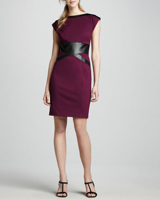 Laundry by Shelli Segal Ponte & Faux-Leather Dress