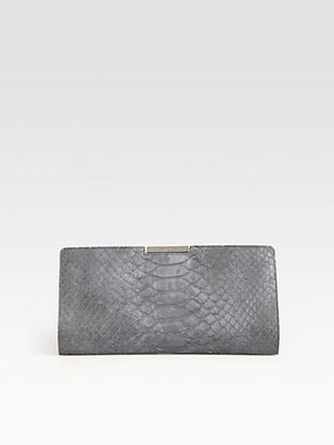Milly Reece Python-Embossed Leather Clutch