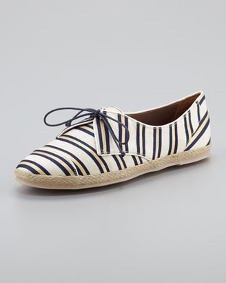 Tabitha Simmons Tie-Striped Flat Espadrille Sneaker, Gold/Navy
